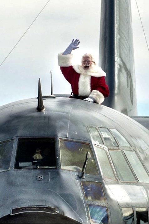 Santa arriving atop C130
